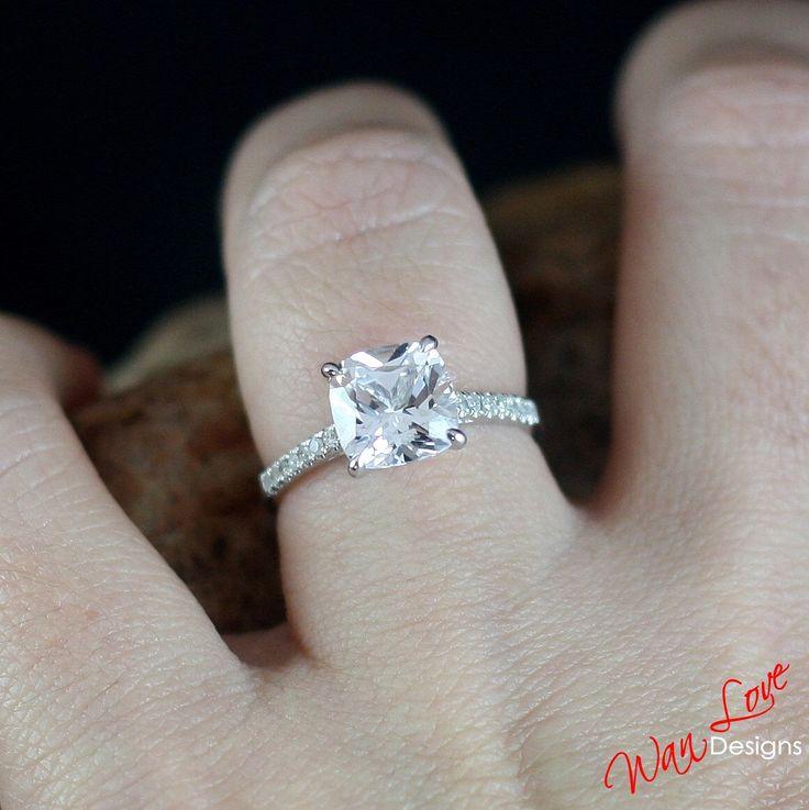 http://rubies.work/0876-ruby-pendant/ White Sapphire & Diamond Engagement Ring Cushion Solitaire 3ct 8mm 14k 18k White Yellow Rose Gold-Platinum-Custom-Wedding-Anniversary-10k by WanLoveDesigns on Etsy https://www.etsy.com/listing/202784421/white-sapphire-diamond-engagement-ring