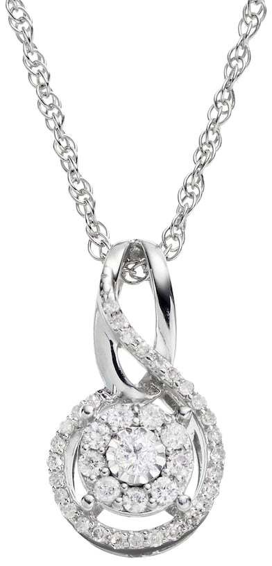 1/5 Carat T.W. Diamond Sterling Silver Infinity Pendant Necklace