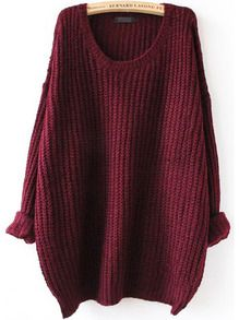 Red Batwing Long Sleeve Loose Knit Sweater US$17.51