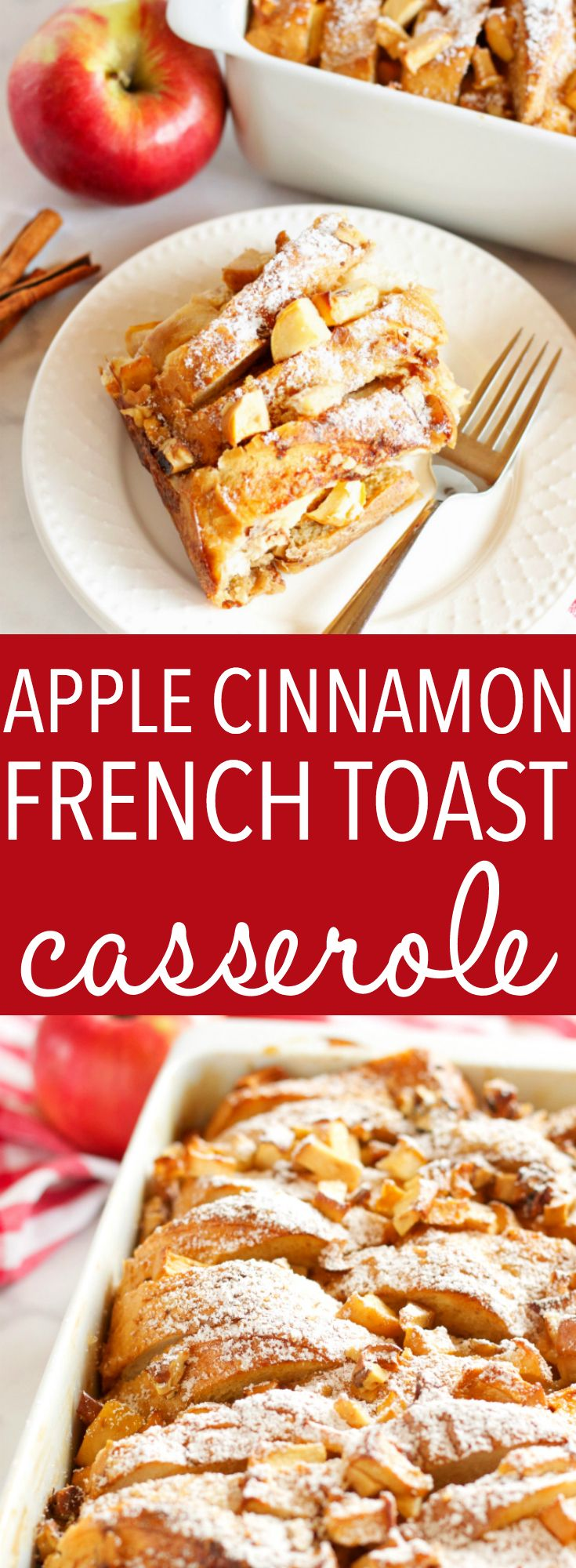 This Apple Cinnamon French Toast Casserole is the perfect holiday breakfast entertaining recipe made with fresh apples, pecans, and served with maple syrup! Recipe from thebusybaker.ca! #holidaybreakfastrecipe #holidayrecipe #christmasbreakfast #easyholidaybreakfast via @busybakerblog