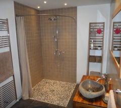 paroi de douche, douche italienne, galbobain, rideau de douche en lin, support rideau de douche, tringle rideau de douche