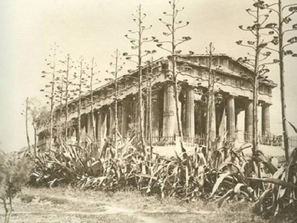 tempel Θησείο, Αθήνα, omringd door centenario's - 1880