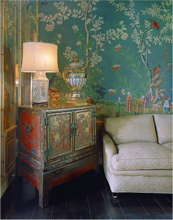 Elsie de Wolfe. Beautiful in Beverly Hills. Chinoiserie | More here: http://mylusciouslife.com/photo-galleries/a-colourful-life-colours-patterns-and-textiles/