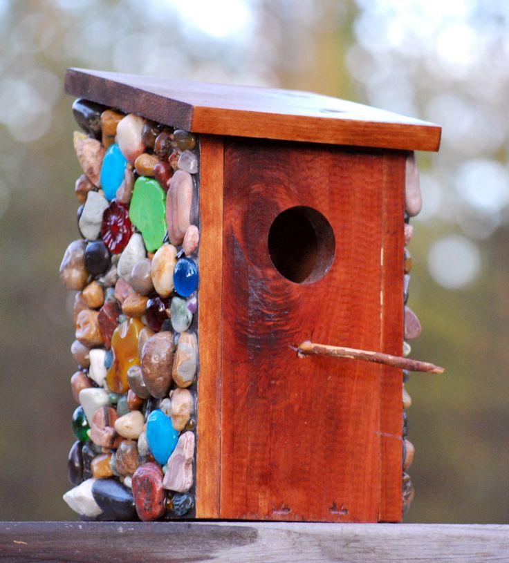 Bluebird Box Mosaic outdoor unique birdhouse for bird watcher #gardendecor #birdhouse