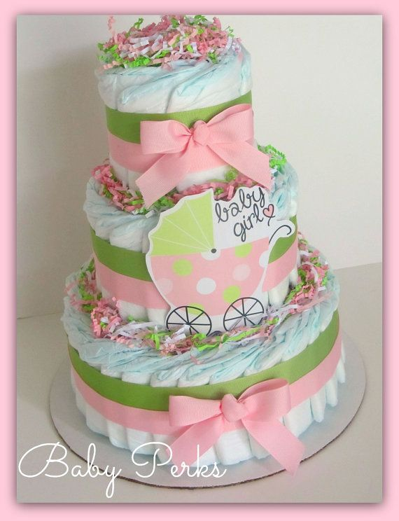 Pink and Green Diaper Cake, Baby Girl Diaper Cake, Carriage Diaper Cake , Baby Shower Decoration