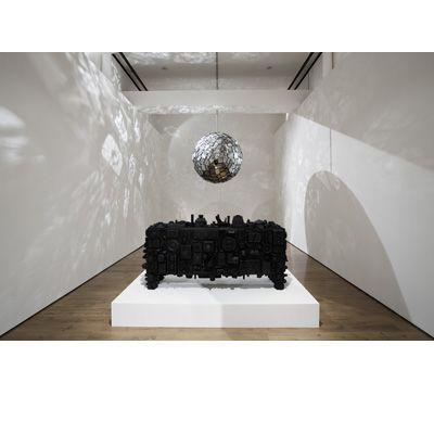 Stuart Haygarth's sidebar and rotating mirror ball made from recycled objects…