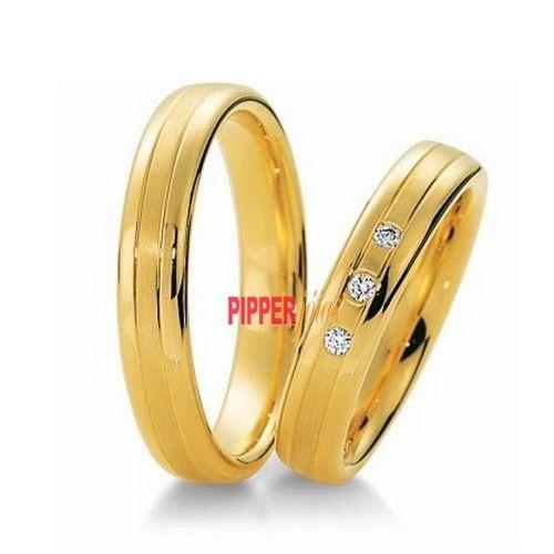Par de Alianças em Ouro Amarelo 18k 750 com 3 Pedras de Diamonic - AD81021