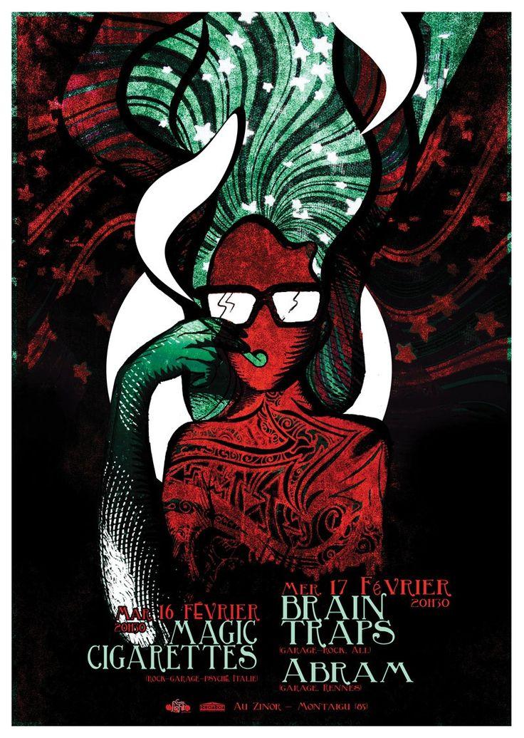 Concert Magic Cigarettes / Brain traps | JulienG graphiste Webdesigner Vendée Nantes