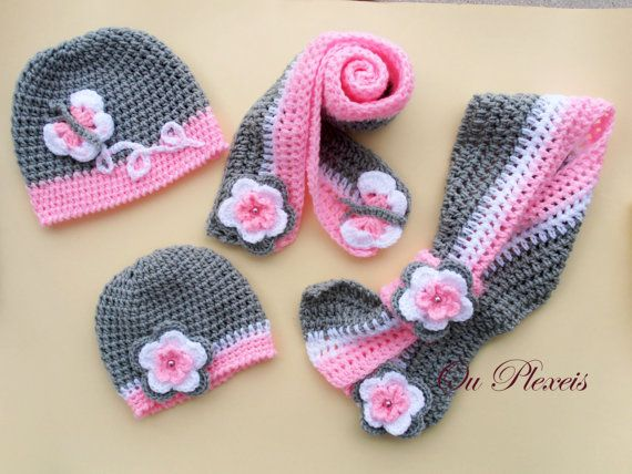 Crochet set hat and scarf crochet baby girl hat and by Ouplexeis