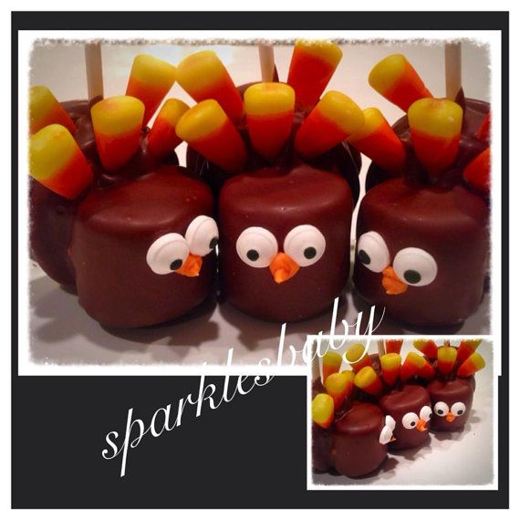 Turkey PopsThanksgiving Turkey Marshmallow and by Sparklesbaby