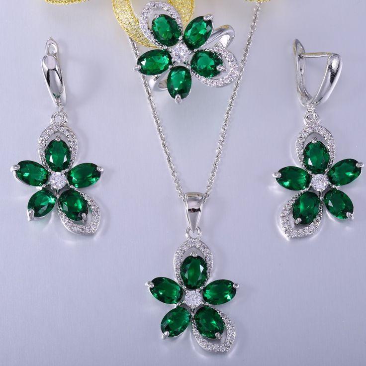 ZHE FAN Green Glass Pave White AAA Zirconia Fashion Flower Women Jewelry Set Valentines Day 3 Pcs Brand Jewellery Size 6 7 8 9