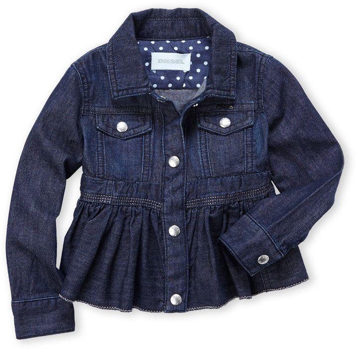 DIESEL (Newborn/Infant Girls) Dark Wash Peplum Denim Jacket