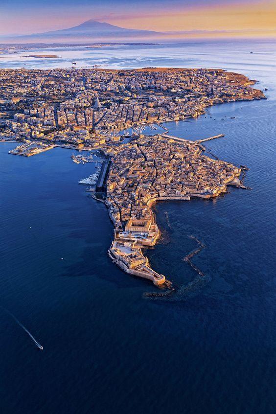 Aerial shot of Siracusa / Syracuse, Sicily, Italy: