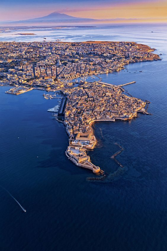 Aerial shot of Siracusa / Syracuse, Sicily, Italy: