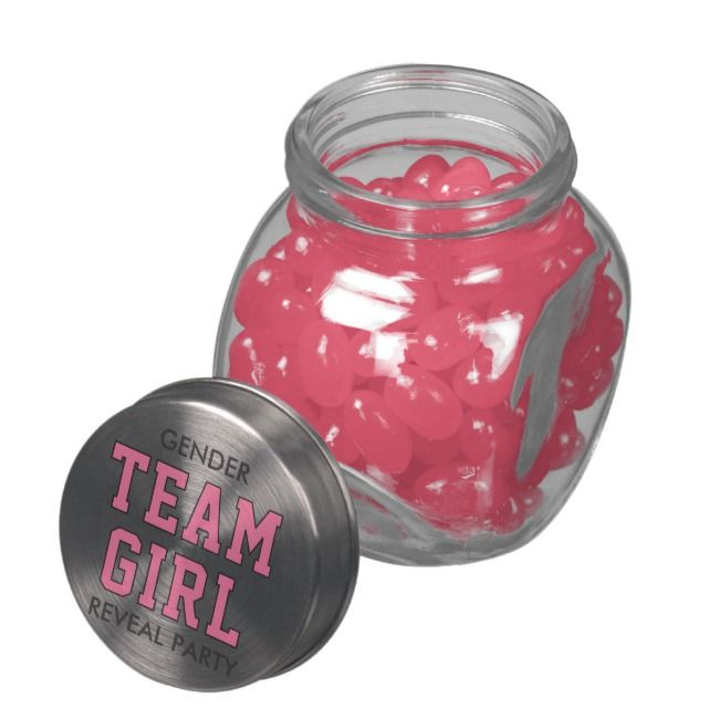 Team Girl Pink Baby Gender Reveal Party Glass Jar Gender Reveal Candy Reveal Parties Gender Reveal Party