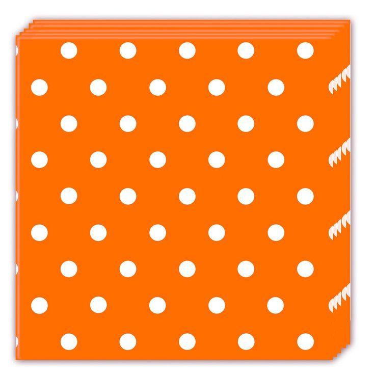 Oranssi pilkullinen servetti