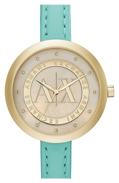AX Armani Exchange Crystal Index Logo Dial Watch, 40mm available at #Nordstrom
