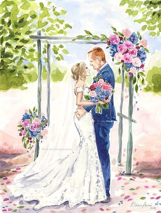 Свадебные акварельные картинки, каникулы