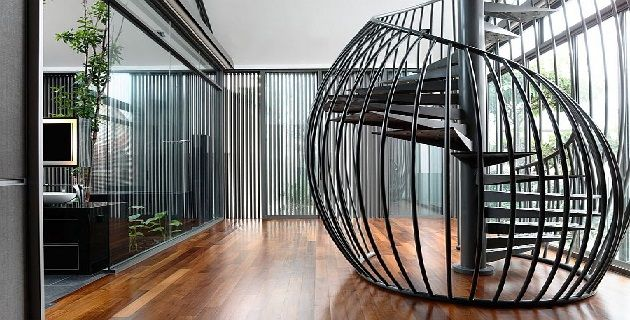 Amazing Modern Spiral Staircase Connecting The Master Bedroom to The Study Above