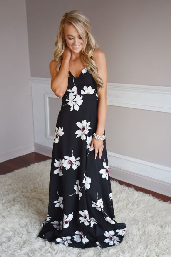 Summer-Days Black Long Sleeveless Floral Maxi-Dress That One Should Have.