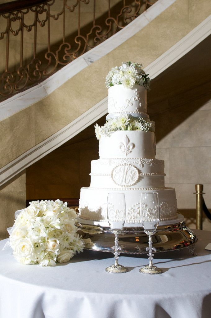 Our Louisiana Fleur De Lis Wedding Cake at the Old Governor's Mansion