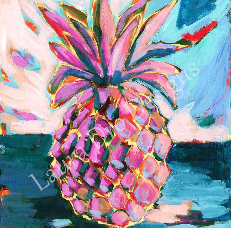 This is a 10x10 inch print of the trendy Pineapple by artist Laura Dro. Created in a colorful, modern abstract style with bold and bright acrylics. Artist signature added after purchase. Frame NOT inc