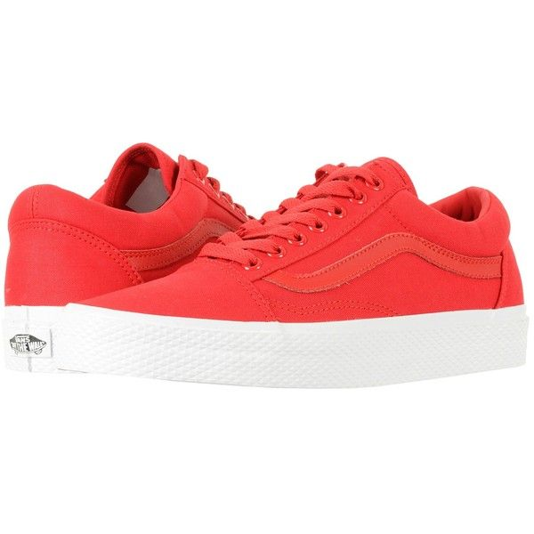 Vans Old Skool ((Waffle Wall) Racing Red/True White) Skate Shoes ($60) ❤ liked on Polyvore featuring shoes, sneakers, red white shoes, breathable shoes, vans shoes, grip trainer and white trainers
