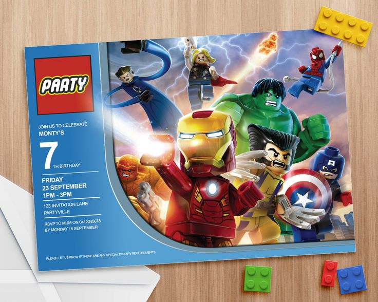 Lego Avengers Party Invite - Editable and Printable - Print as many copies as you like - Microsoft Word or Apple Pages by MontyandMeInvites on Etsy