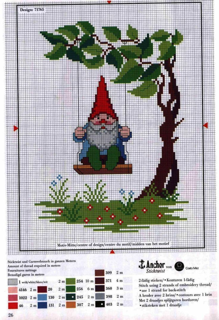 swinging gnome - This is a cross stitch pattern, but I wonder if I can turn it into something to crochet?: