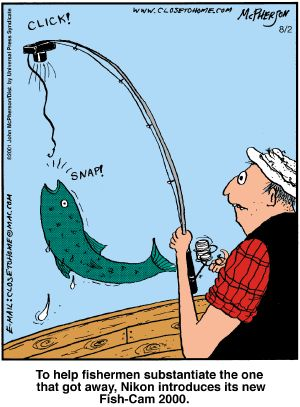 """CLICK!  To help fisherman substantiate """"the one that got away"""", Nikon introduces it's new Fish-Cam 2000."""