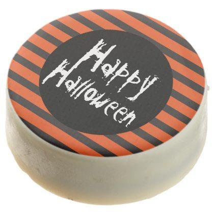 #Orange Black Striped Spooky Font Happy Halloween Chocolate Dipped Oreo - #Chocolates #Treats #chocolate