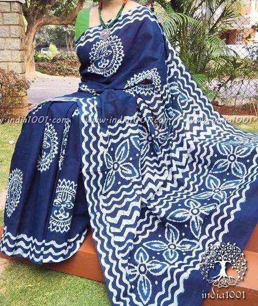 Beautiful Indigo Dabu Printed Cotton Saree