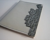 Passport Cover - White patent with printed leather applique