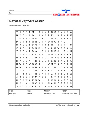 Memorial Day Printable Activities: Word Search, Vocabulary, Crossword Puzzle, Multiple Choice Challenge, Alphabet Activity, Door Hangers, Draw and Write, Coloring Page - Flag, Coloring Page - Tomb of the Unknown Soldier