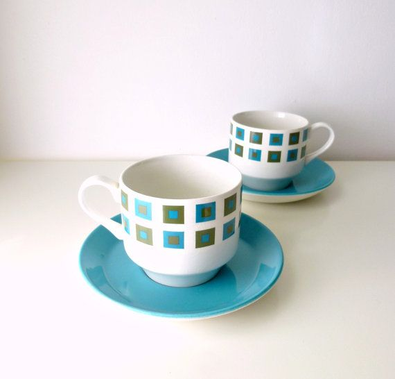 Mid Century Modern Teacup / Saucer Duo x2 - Geometric - Midwinter - Jessie Tait - Tea for Two - Autumn / Fall - Mad Men, 1960's Kitchen on Etsy, $28.49