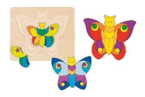 Gleich mehrer Puzzle in einem. Unterschiedliche Größen von Schmetterlingen in verschiedenen Farben in nur einem Puzzle. <br>Fördern Sie spielerisch die Konzentration und Motorik Ihres Kindes. <br>17,8 x 1,3 x 15,2 cm