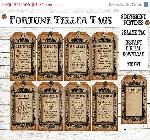 Halloween Witch Fortune Teller Tag Instant Digital Download Vintage Printable Collage Sheet Clip Art Scrapbook Image