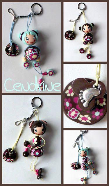 Cendrine qui fait des chôses ...: gri-gri de sac, porte clefs kokeshi fimo
