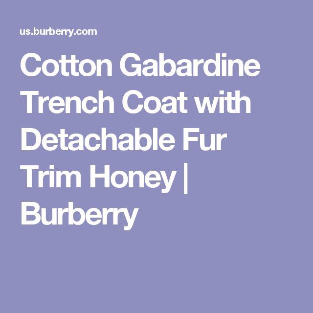 Cotton Gabardine Trench Coat with Detachable Fur Trim Honey | Burberry