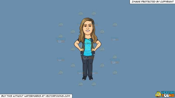 A Proud Dental Assistant On A Solid Shadow Blue 6c8ead Background:   A woman with long dark blonde hair wearing a dark bluish gray with sky blue shirt dark bluish gray pants and shoes smiles while placing both hands on her hips  #dental #dentist #health #teeth #clipart #vectortoons #illustration