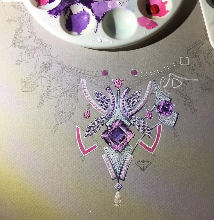 More progress of my next piece inspired by this beautiful amethyst! Can't wait to finish this rendering!!! #handmade #handmadejewelry #jewelrydesign #jewelleryrendering #jewelryrendering #jewelrysketch #sketch #gouache #draw #drawing #diamond  #designer #