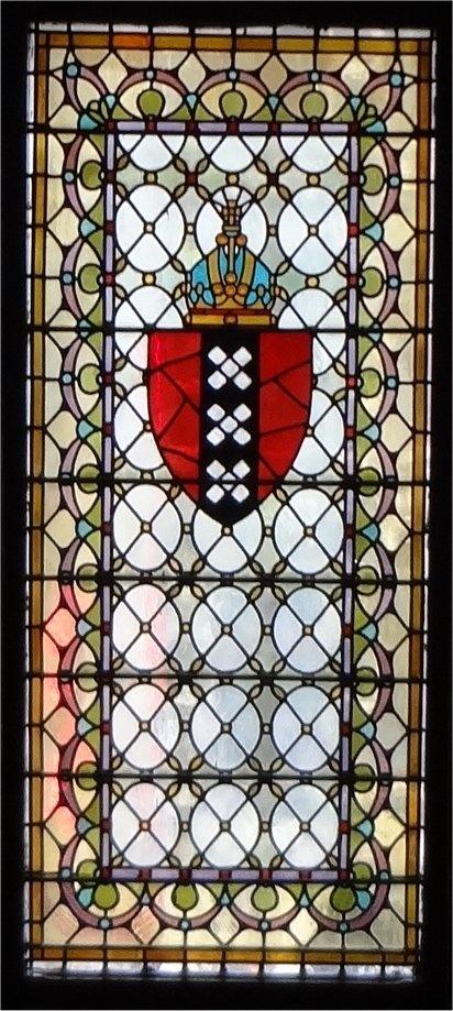 Beurs van Berlage wapen van Amsterdam in glas en lood raam