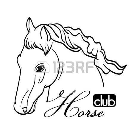 kézzel rajzolt lófej fehér szimbólumként a klub photo