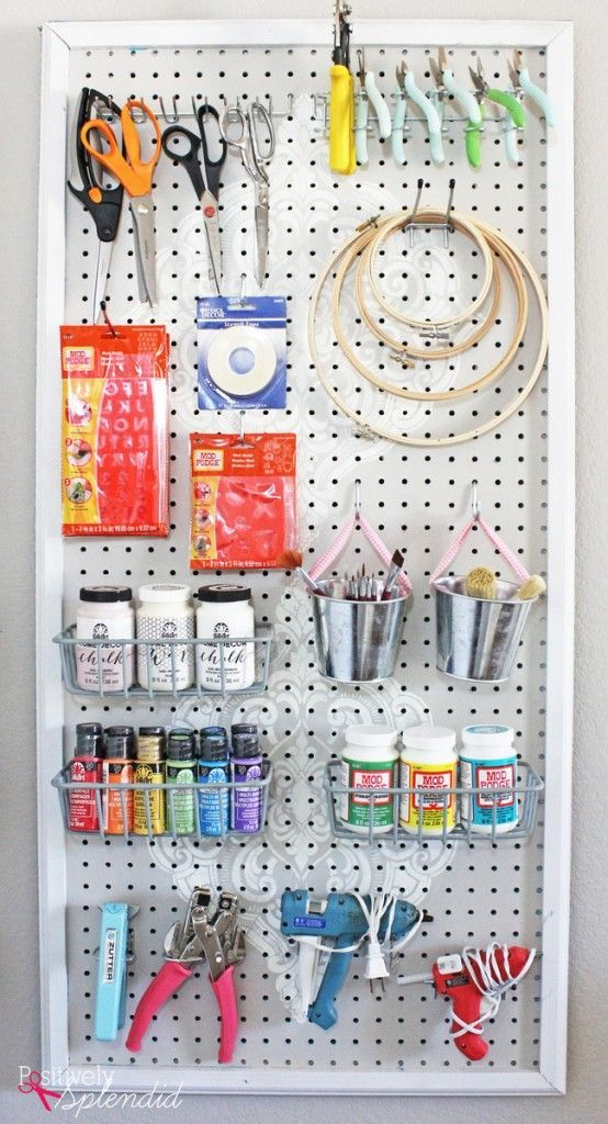 Stenciled Pegboard Craft Organizer - incredibly functional and so pretty! #plaidcreators #ad