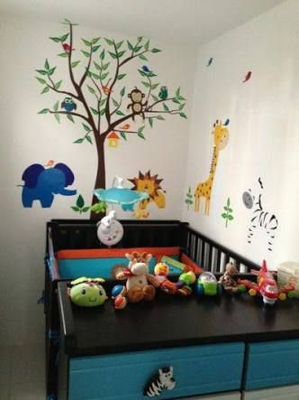65 best images about habitacion bebe on pinterest jungle for Decoracion de habitacion de bebe
