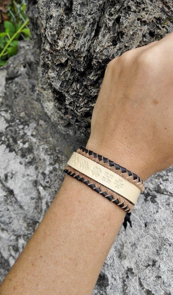 Genuine leather cuff bracelet ancient bracelet cuff by AivaArt