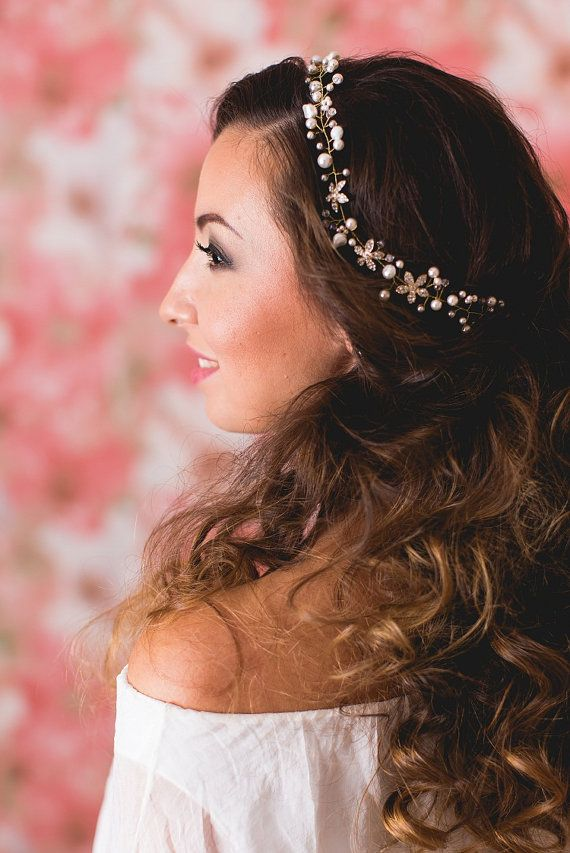 Flower Bridal Headband Taira with Pearls and by EoliBridal on Etsy