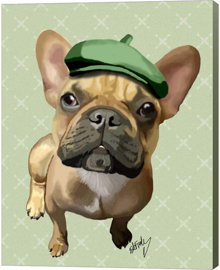 Metaverse Brown French Bulldog With Green Hat By Fab Funky Canvas Art French Bulldog Print French Bulldog Painting French Bulldog