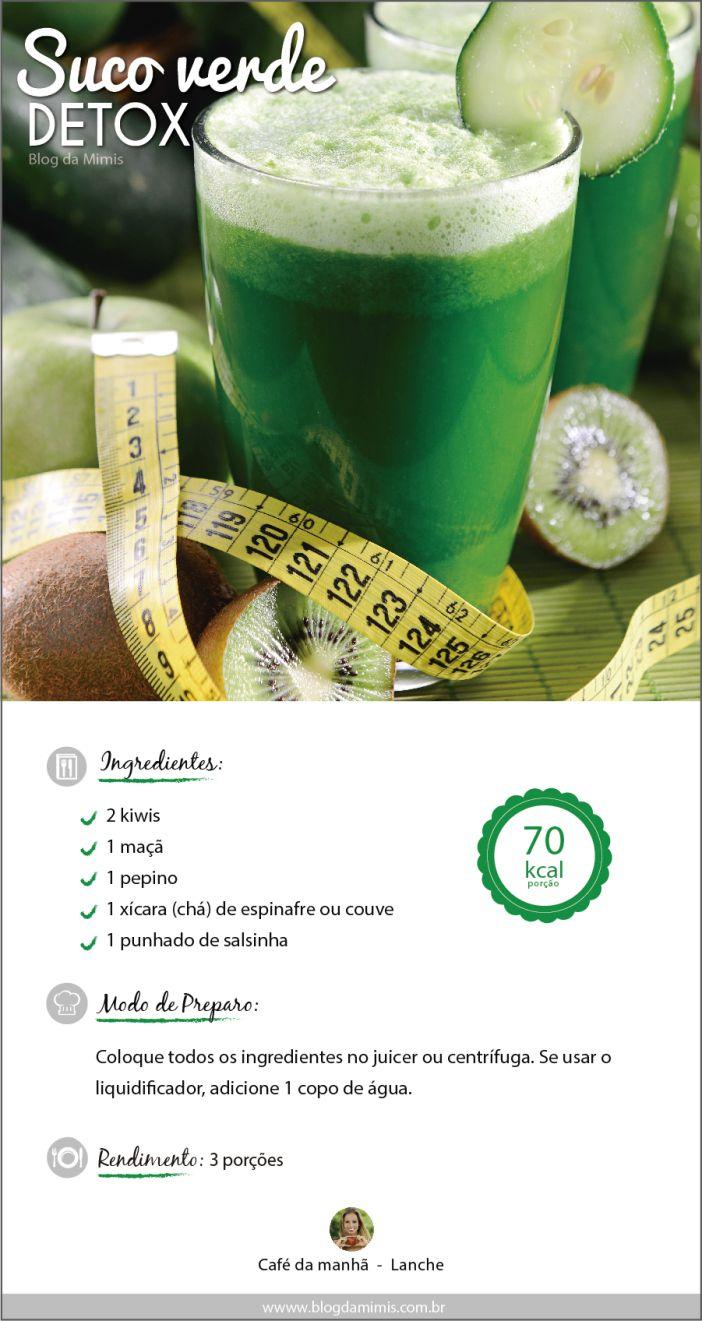 Suco verde detox _ apesar dos benefícios atenção a moderação e aos efeitos secundários desta potente bebida. Pesquisem mais sobre o assunto. (Lucy)