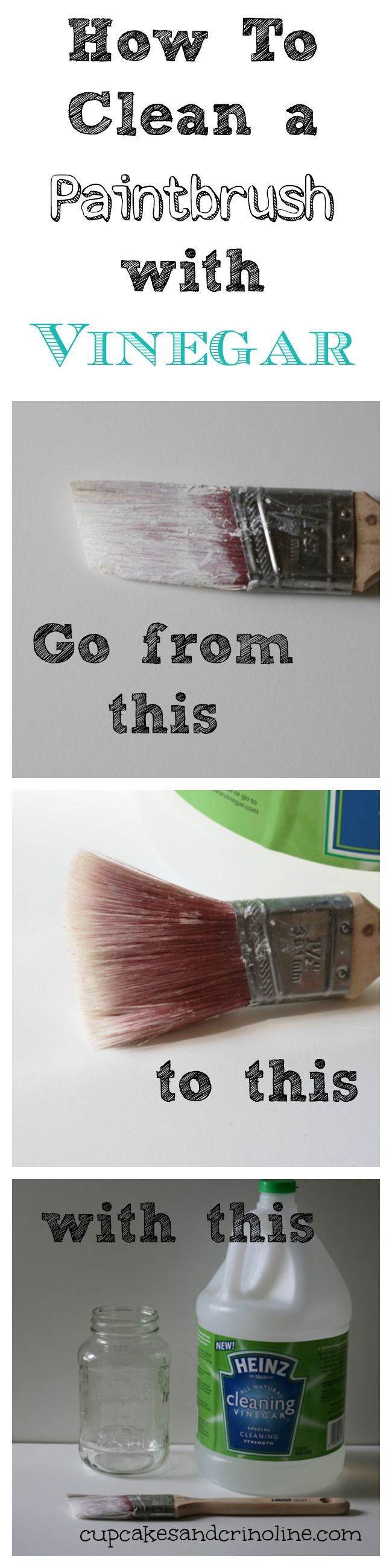 How To Clean a Dry and Crusted Paintbrush Easily with Vinegar | Cupcakes & Crinoline